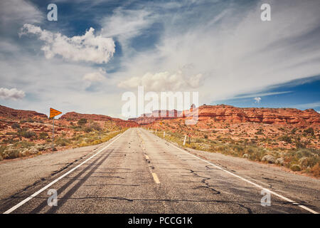 Vintage toned picture of scenic road in Arizona, travel concept, USA. - Stock Photo