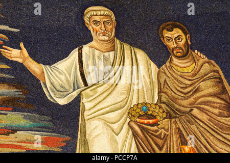 St Peter presenting St Cosmas - Detail of the 6th century apse mosaic (530 AC), Masterpiece of the early Christian Art, Basilica of SS Cosma e Damiano - Stock Photo