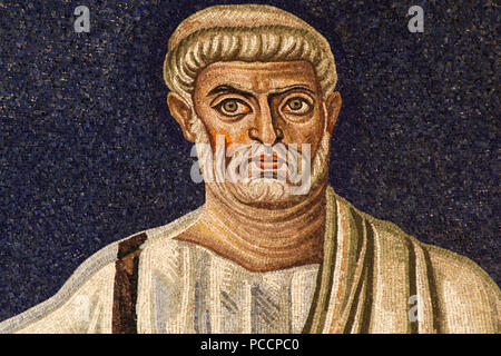 Saint Peter - Detail of the 6th century apse mosaic (530 AC) - Masterpiece of the early Christian Art - Basilica of Santi Cosma e Damiano - Rome - Stock Photo