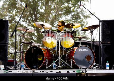 Mansfield, Ohio, July 15, 2018. David Lombardo, drummer for Suicidal Tendencies at Inkarceration Fest 2018. Credit: Ken Howard/Alamy - Stock Photo