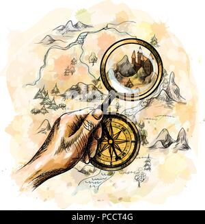 compass and magnifying glass with treasure map - Stock Photo