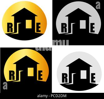 abstract house with window and door open, real estate minimalist logo - Stock Photo