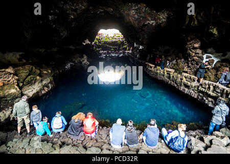 Jameos del Agua lava tunnel formed in a museum of Cesar Manrique, Lanzarote, Canary Islands, Spain, Atlantic, Europe - Stock Photo