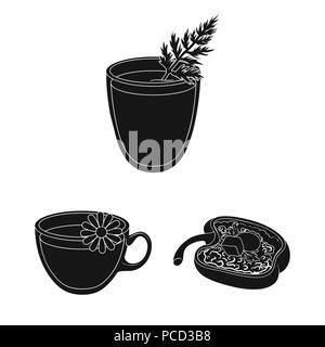 Vegetarian dish black icons in set collection for design.Vegetable and milk food vector symbol stock  illustration. - Stock Photo