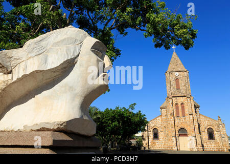Sculpture by Francisco Martinez and Cathedral, Puntarenas City, Costa Rica, Central America - Stock Photo