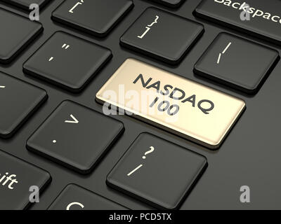 3d render closeup of computer keyboard with NASDAQ 100 index button. Stock market indexes concept. - Stock Photo