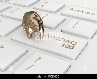 3d render closeup of computer keyboard with NASDAQ 100 index button and bear. Stock market indexes concept. - Stock Photo