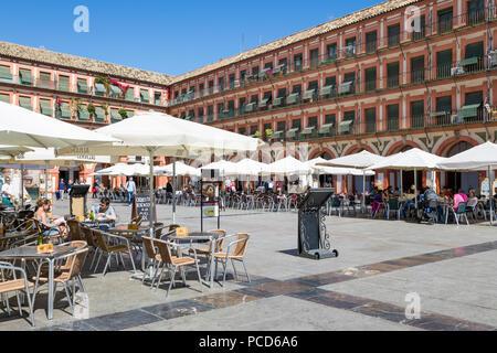 Cafes and restaurants in the Plaza de la Corredera, Cordoba, Andalucia, Spain, Europe - Stock Photo