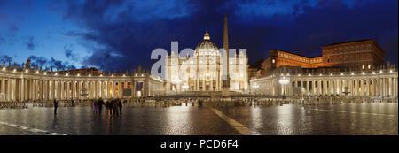 St. Peter's Basilica, St. Peter's Square, Colonnade of Bernini, UNESCO World Heritage Site, Vatican City, Rome, Lazio, Italy, Europe