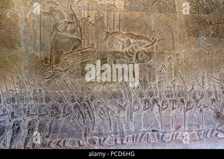 Bas relief of the commander of the vanguard riding an elephant and the army of King Suryavarman II at Angkor Wat, UNESCO, Siem Reap, Cambodia - Stock Photo