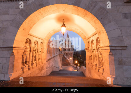 Matthias Church seen from Fisherman's Bastion, Budapest, Hungary, Europe - Stock Photo