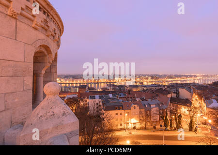 City at sunset seen from Fisherman's Bastion, Budapest, Hungary, Europe - Stock Photo