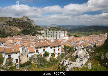View over Andalucian white village, Grazalema, Sierra de Grazalema Natural Park, Andalucia, Spain, Europe - Stock Photo