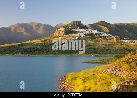 Moorish castle above white village and reservoir, Zahara de la Sierra, Sierra de Grazalema Natural Park, Andalucia, Spain, Europe - Stock Photo