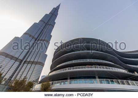 View of Burj Khalifa and the new Fashion Avenue in the Dubai Mall. - Stock Photo