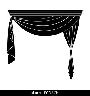 Curtains with drapery on the cornice.Curtains single icon in blake style vector symbol stock illustration . - Stock Photo