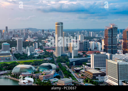 Aerial view of Downtown Core, Singapore - Stock Photo