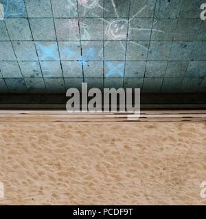 sand,sandbox,chalk drawing,wall tiles - Stock Photo