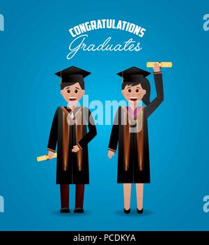 congratulations graduation cute students greeting holding certificate vector illustration - Stock Photo