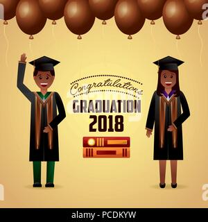 congratulations graduation brown balloons cute students greeting vector illustration - Stock Photo