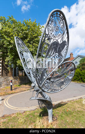 Butterfly sculpture number 1 (of 3) on the towpath alongside Chichester Ship Canal, Chichester, West Sussex, England, UK. - Stock Photo