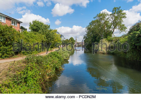 Stretch of the Chichester Ship Canal in Chichester, West Sussex, England, UK. Chichester Canal - Stock Photo