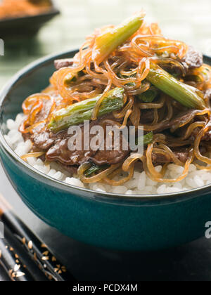 rice dish,beef,japanese cuisine,shirataki noodles - Stock Photo