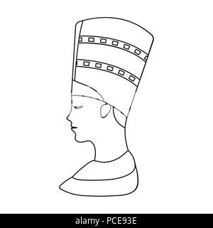 Bust of Nefertiti icon in outline style isolated on white background. Ancient Egypt symbol vector illustration. - Stock Photo