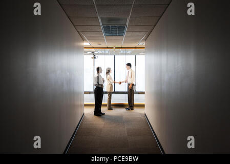 A mixed race group of business people talking and shaking hands in front of a window at the end of a long hallway. - Stock Photo