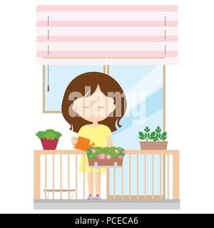 Young woman standing on a balcony holding a jug in her hand and watering flowers in a pot, window and blinds in the background - vector - Stock Photo