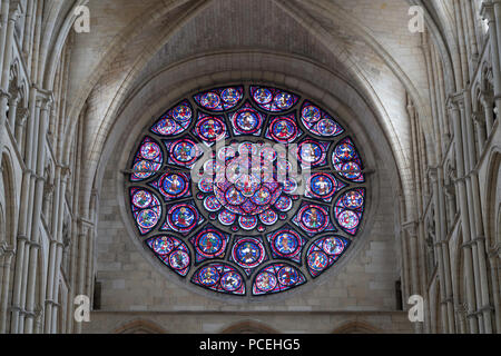 Stained glass east rose window within the cathedral, Laon, France, Europe - Stock Photo