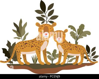 wild cheetahs in the jungle - Stock Photo