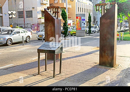 TEL AVIV, ISRAEL - SEPTEMBER 17, 2017:  Monument to the victims of terrorist attack in 1993, Rothschild Boulevard. Destroyed aqueduct - Stock Photo