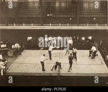 Battle Royal with 5 boxers in the ring at one time, ca: 1910-1915   Location, people, event, and photographer are all unidentified - Stock Photo