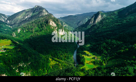 Aerial view of a mountain valley, forest, Tara river canyon in Durmitor National Park, Montenegro. - Stock Photo