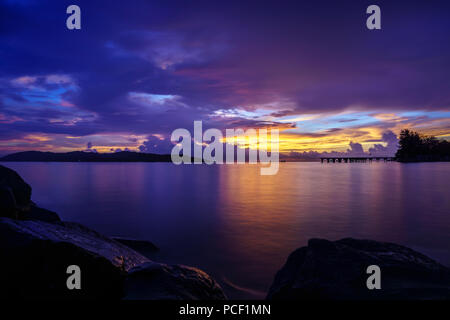 Beautiful sunset color in Kota Kinabalu Sabah. KK is known as the best place to see beautiful sunset in the world. - Stock Photo