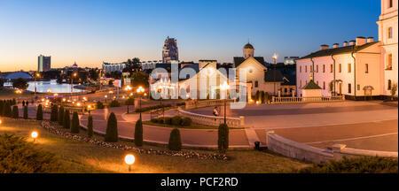 Panoramic view of Minsk City center illuminated at night, Belarus - Stock Photo
