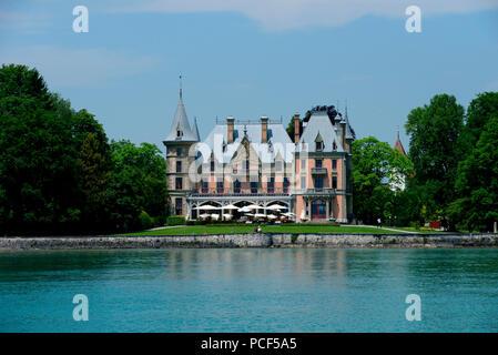 Schloss Schadau, Thun, Kanton Bern, Schweiz, Thunersee - Stock Photo