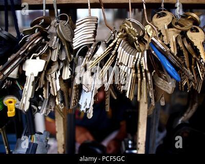 Photo of a bunch of door lock keys - Stock Photo