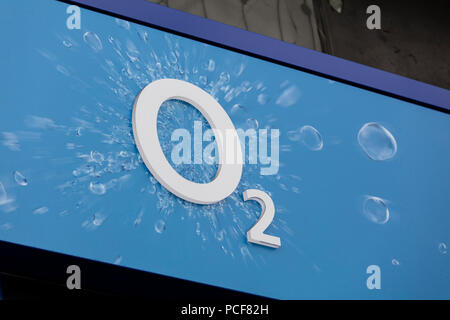 LONDON, UK - JULY 31th 2018: O2 telecoms store front on Oxford Street in central London. - Stock Photo
