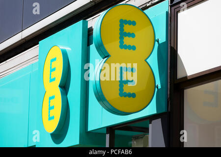LONDON, UK - JULY 31th 2018: EE mobile network store front on Oxford Street in central London. - Stock Photo