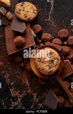 chocolate,chocolate biscuits,chocolate pieces - Stock Photo