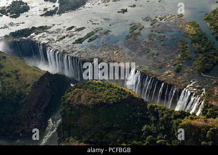Aerial view, Victoria Falls, Zimbabwe, Africa - Stock Photo