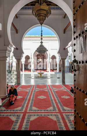 Entrance, University and Mosque Al-Qarawiyyin, Al Quaraouiyine or Al-Karaouine, Fes, Fez, Morocco, Africa - Stock Photo