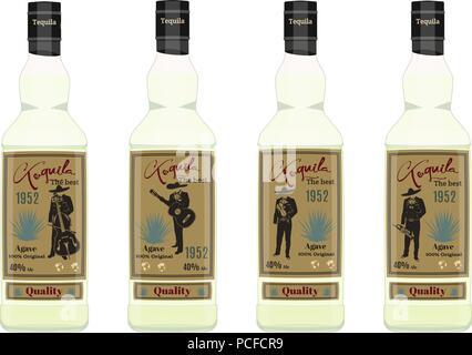 Tequila bottle set vector flat illustration - Stock Photo