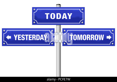 YESTERDAY, TODAY, TOMORROW, written on three blue signposts - symbolic for living in the here and now, not in the past or future. - Stock Photo