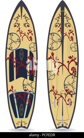 Vector flat illustration of surfing board - Stock Photo