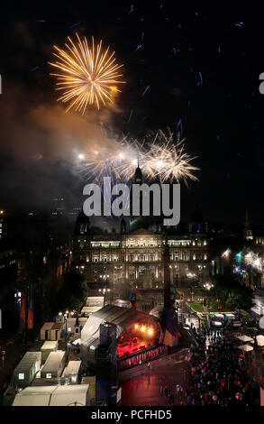 Fireworks display during the 2018 European Championships Great Big Opening Party at George Square, Glasgow. PRESS ASSOCIATION Photo. Picture date: Wednesday August 1, 2018. See PA story SPORT European. Photo credit should read: Jane Barlow/PA Wire - Stock Photo