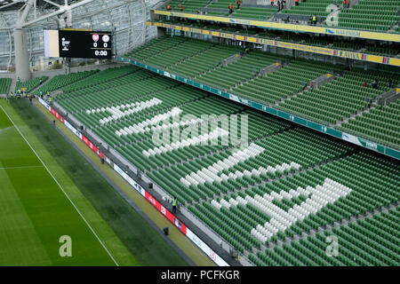 Aviva Stadium, Dublin, Ireland. 1st Aug, 2018. Pre Season football friendly, International Champions Cup, Arsenal versus Chelsea; A general view of the Aviva stadium prior to kickoff Credit: Action Plus Sports/Alamy Live News - Stock Photo