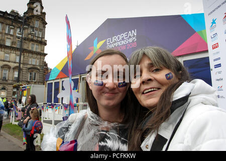 Glasgow 1 August 2018. Big Opening Party in George Square for the 2018 European Championships. Credit Alan Oliver / Alamy Live News - Stock Photo
